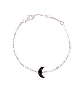 Pulsera Luna Cristal Negro Plata