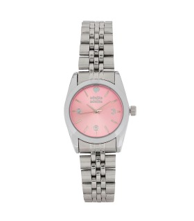Mini Reloj Plata Corazón Rosa