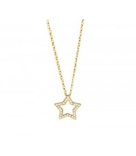 Cadena Estrella Hueca Brilli Oro 18k