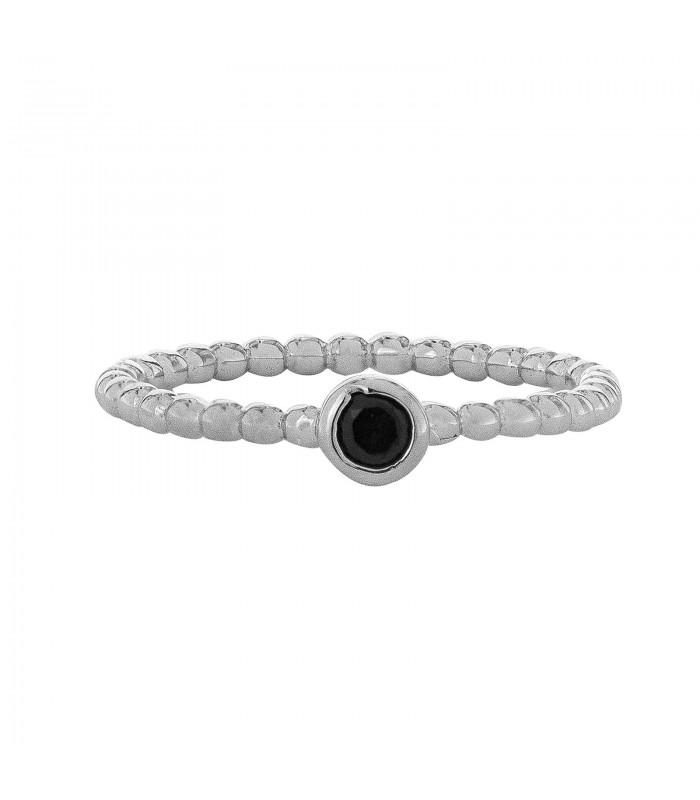 Anillo Bolitas Cristal Negro Plata