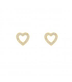 Pendientes Corazón Hueco Cristal Oro 18k