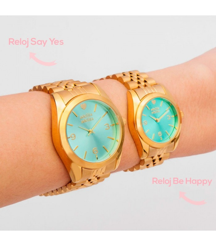 Relojes Reloj Be Happy Dorado Frambuesa