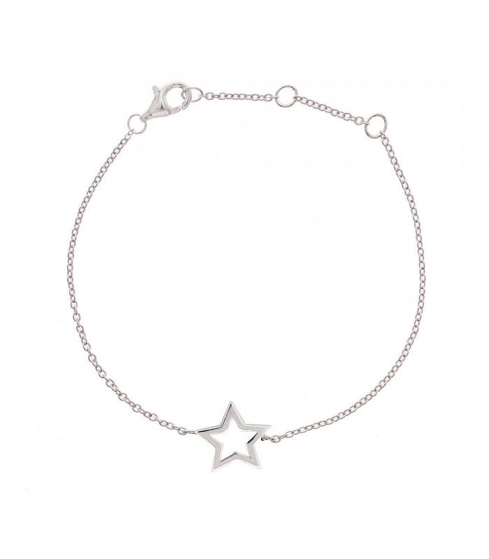 Pulsera Estrella Hueca Plata