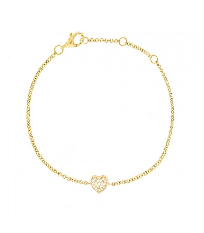 Pulsera Corazón Cristales Oro 18k
