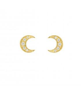 Pendientes Pendientes Luna Cristal Oro 18k