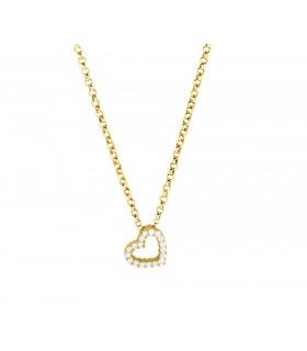 Cadena Corazón Hueco Cristales Oro 18k
