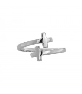 Anillo Cruz Doble Plata 925