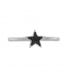 Anillo Estrella Cristal Negro Plata 925
