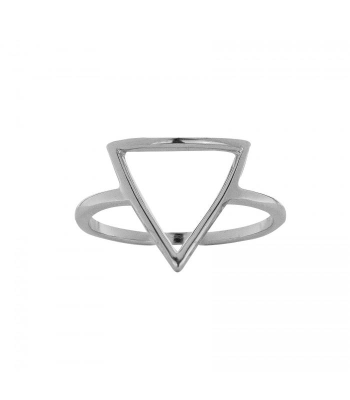 Anillo Triángulo Hueco Plata