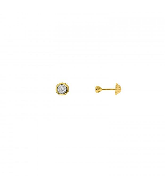 Pendientes Niña Cristal 3mm Oro