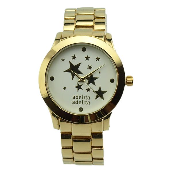 Reloj dorado estrellas blanco