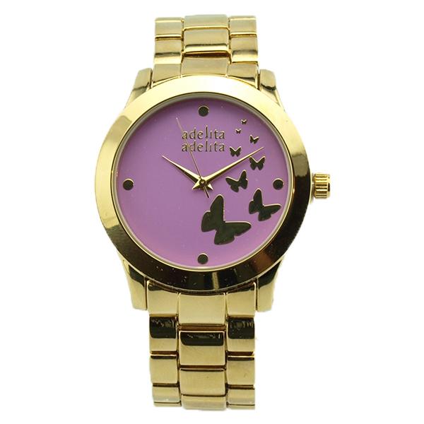 Reloj dorado mariposas lila