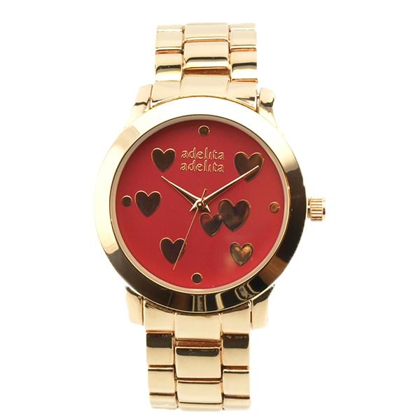 Reloj oro rosa corazones granate