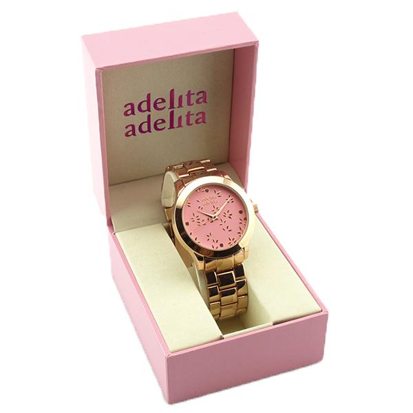 Reloj oro rosa hojitas coral caja