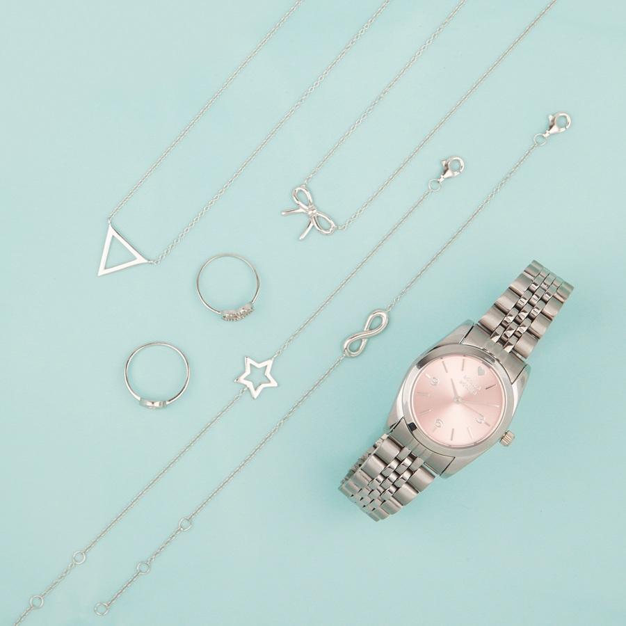 Joyas y reloj mini plata