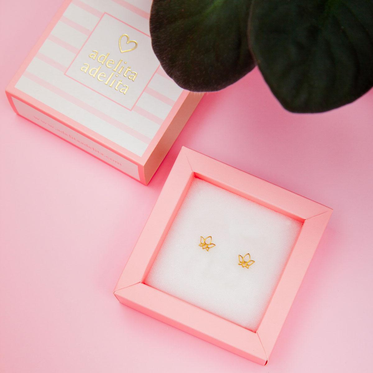 Pendientes dorados flor de loto